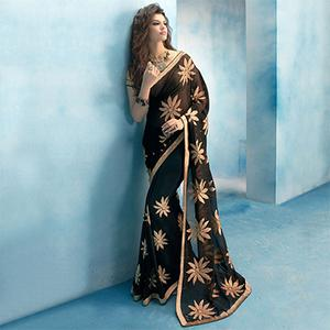 Bold Black Colored Embroidered Party Wear Chiffon Saree
