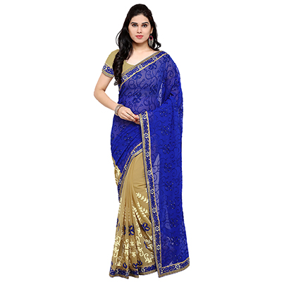 Blue-Beige Colored Embroidered Party Wear Half-Half  Georgette Saree