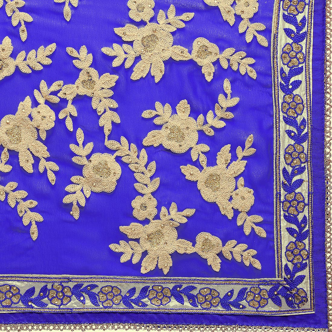 Attractive Royal Blue Colored Embroidered Party Wear Georgette Saree