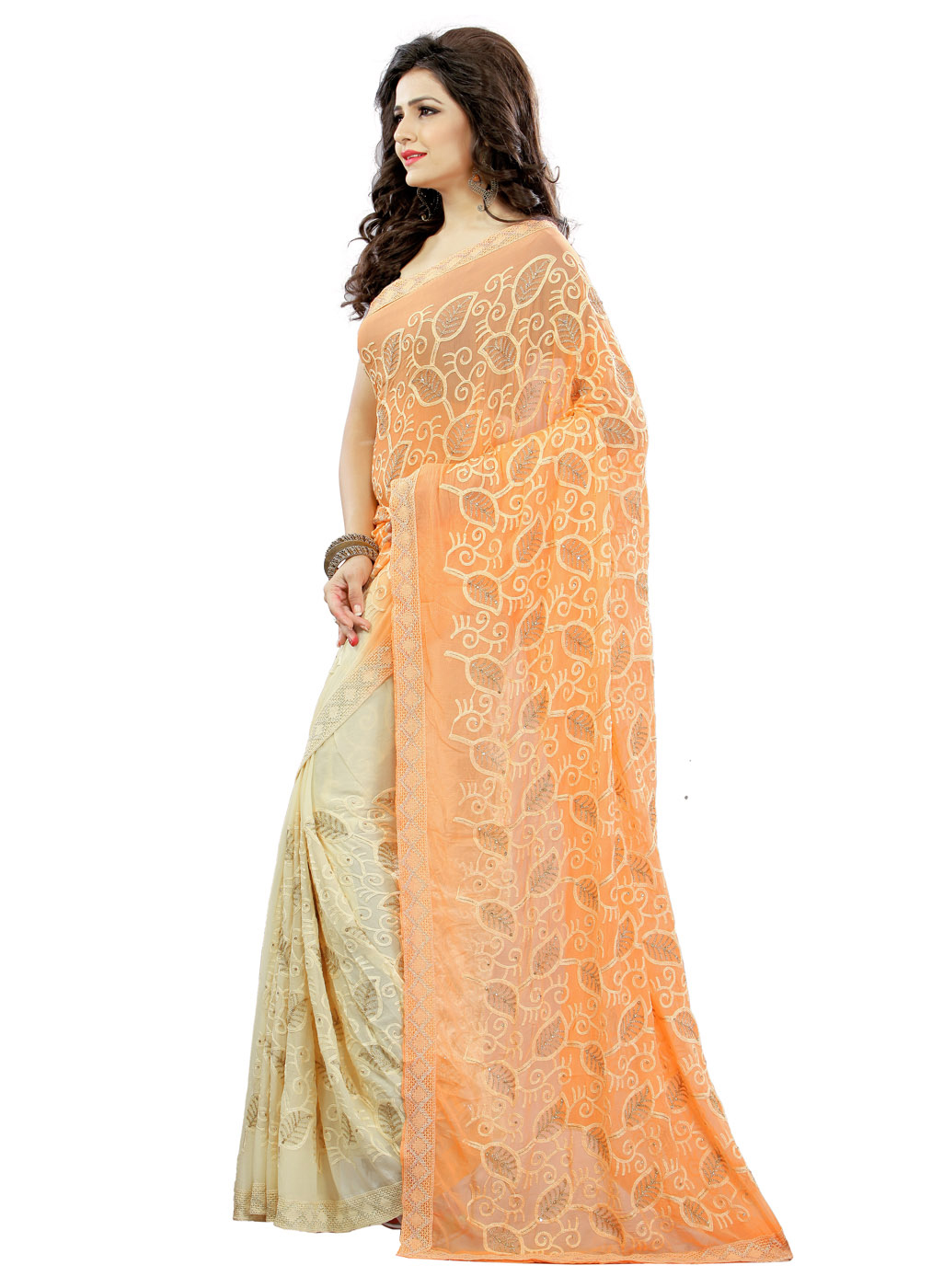 Classy Cream-Orange Colored Embroidered Party Wear Chiffon Saree