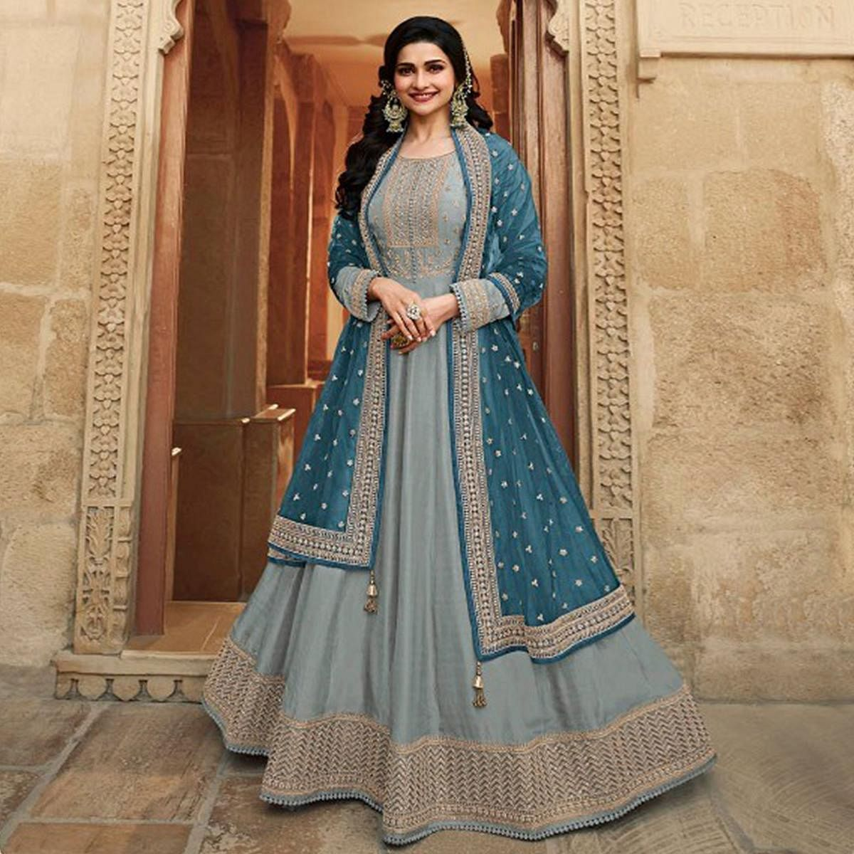 Grey Festive Wear Embroidered Dolla Silk Gown Suit