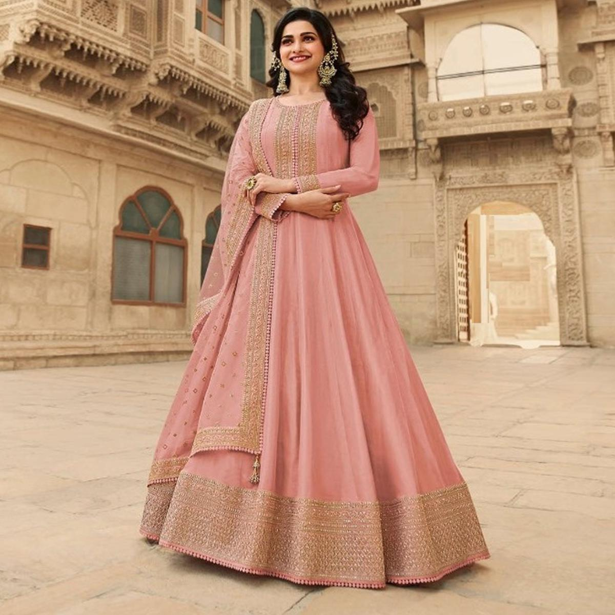 Peach Festive Wear Embroidered Dolla Silk Gown Suit