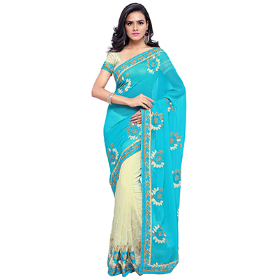 Sky Blue-Cream Colored Embroidered Party Wear Half-Half Georgette Saree