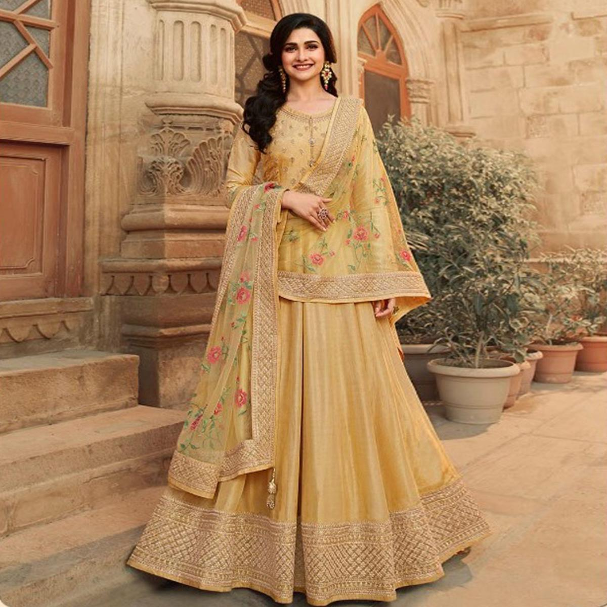 Gold Festive Wear Embroidered Dolla Silk Gown Suit