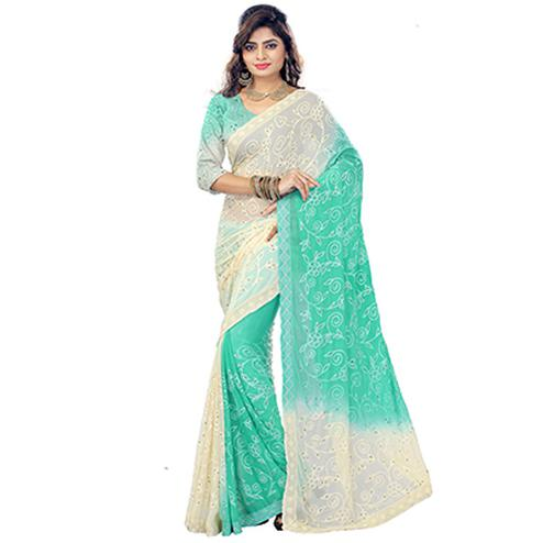 Dazzling Cream-Green Colored Embroidered Party Wear Chiffon Saree