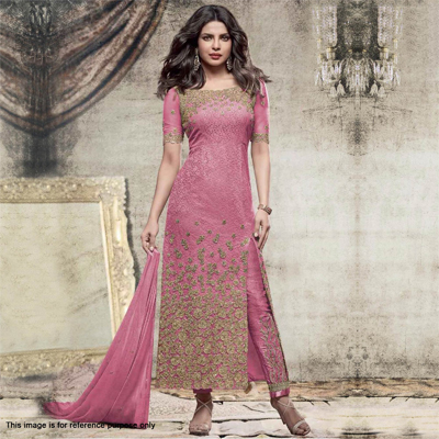 Pink Embroidered Work Partywear Suit
