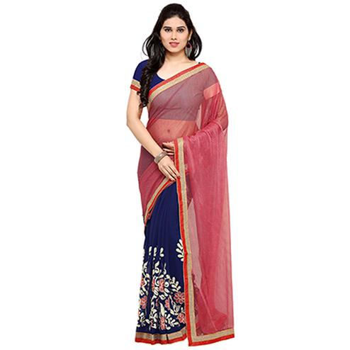 Attractive Navy Blue-Peach Colored Embroidered Party Wear Half-Half Lycra-Georgette Saree