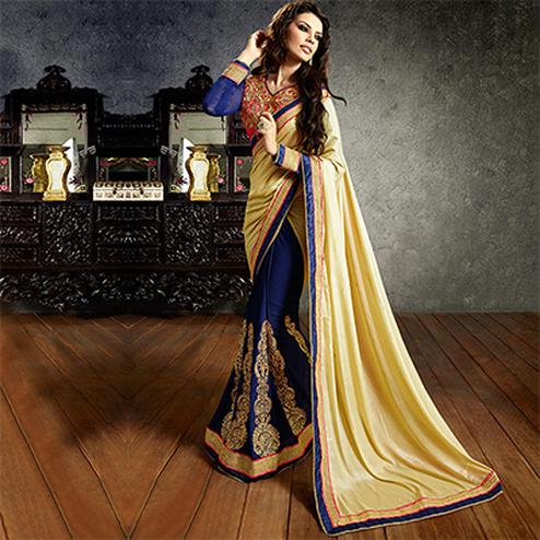 Awesome Navy Blue-Cream Colored Embroidered Party Wear Half-half Lycra-Georgette Saree