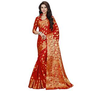 Traditional Red Colored Party Wear Woven Banarasi Art Silk Saree