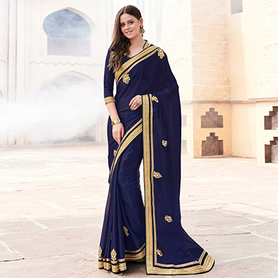 Flaunt Navy Blue Colored Embroidered Party wear Georgette Saree