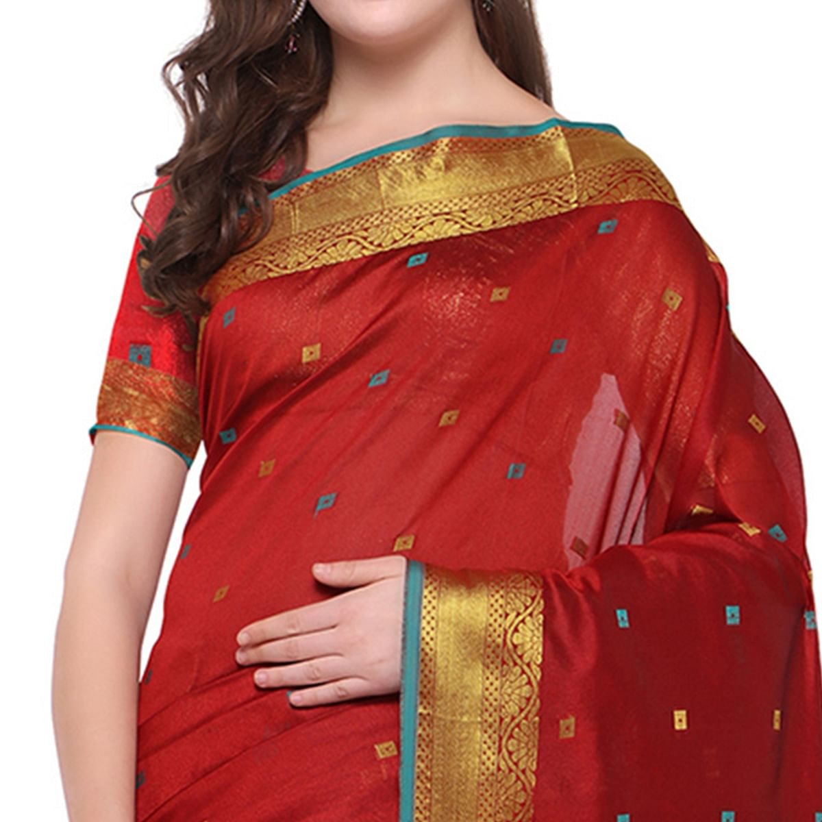 Simple Red Colored Party Wear Woven Banarasi Art Silk Saree