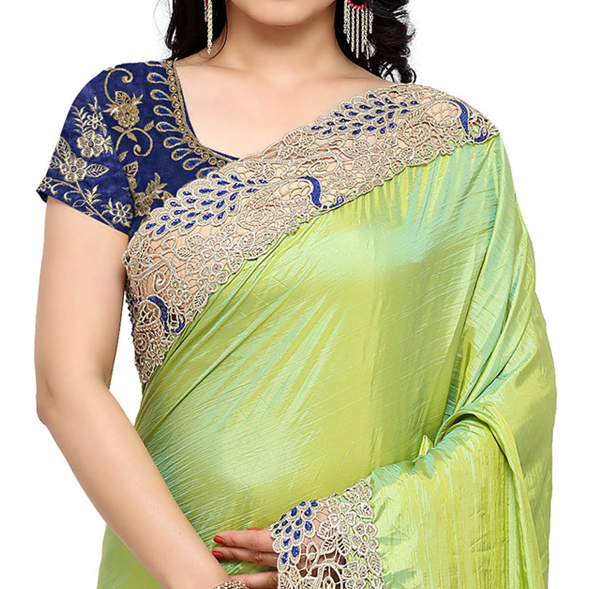 Eye-Catching Green-Off-White Colored Party Wear Half-Half Silk-Net Saree
