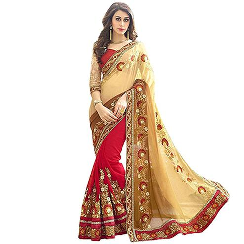 Red-Cream Colored Embroidered Party Wear Half-Half Georgette Saree