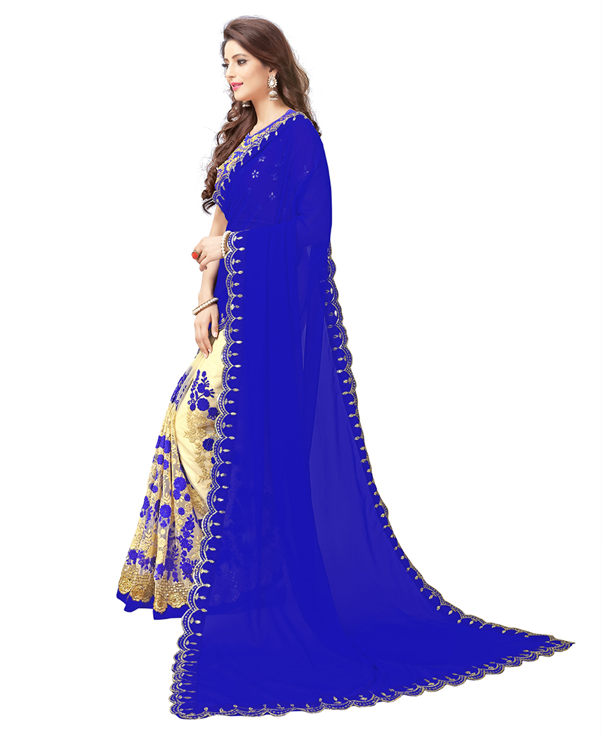 Blue-Cream Colored Embroidered Party Wear Half-Half Georgette Saree