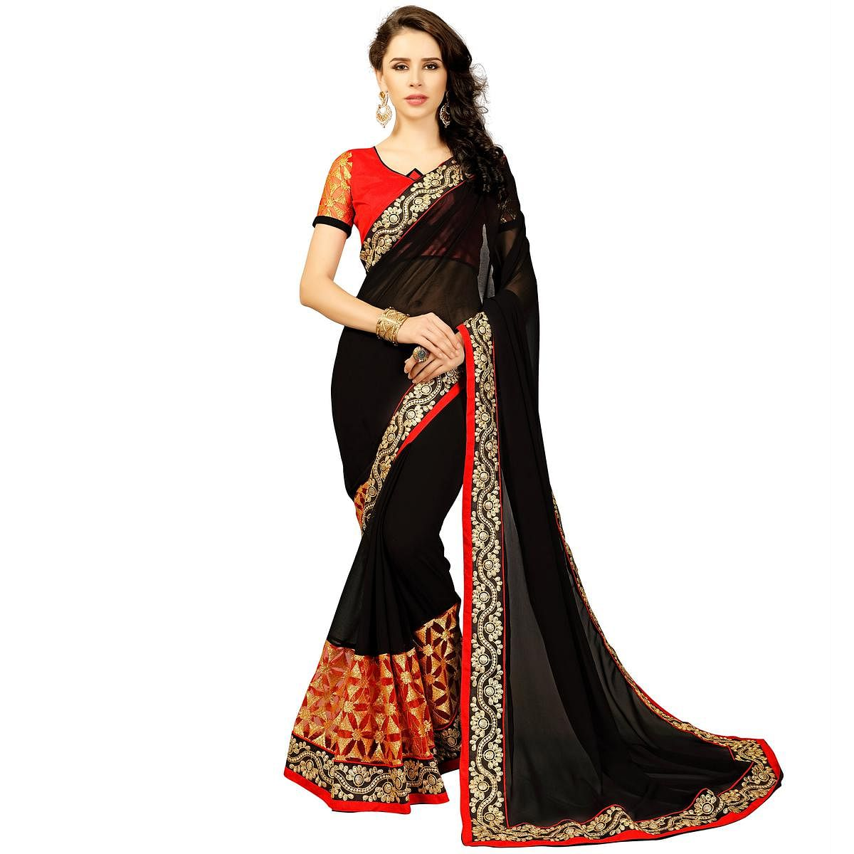 3c3e5f63f7 Buy Bold Black Colored Embroidered Party Wear Georgette Saree Online India,  Best Prices, Reviews - Peachmode