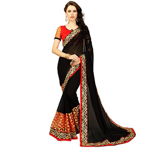 Bold Black Colored Embroidered Party Wear Georgette Saree