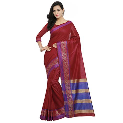 Sober Maroon Colored Festive Wear Cotton Banarasi Saree