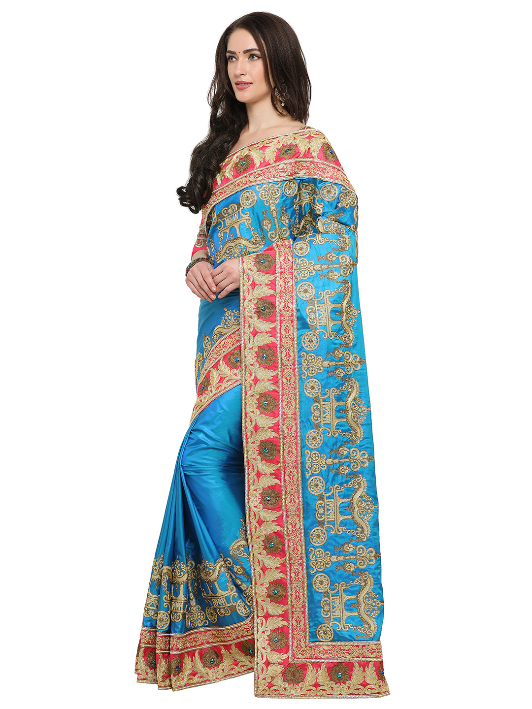 Mystic Sky Blue Colored Embroidered Partywear Silk Saree