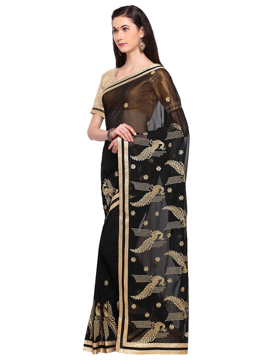 Radiant Black Colored Embroidered Party Wear Georgette Saree