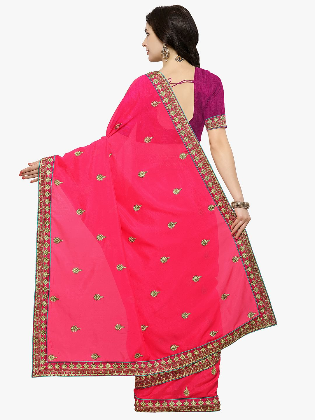 Hot Pink Colored Embroidered Partywear Silk Saree