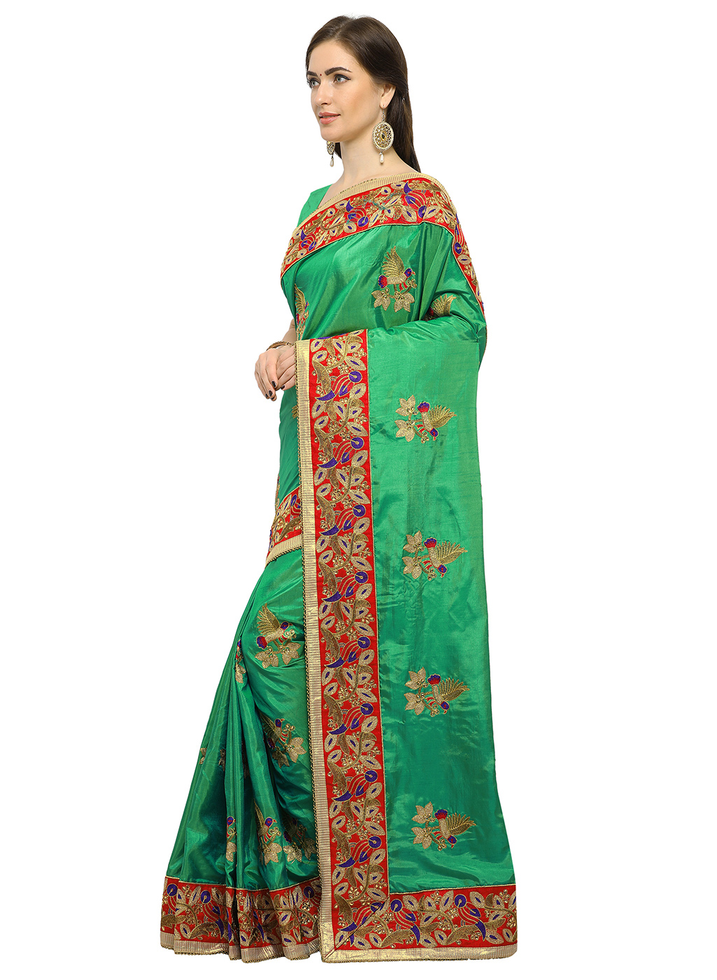 Gorgeous Green Colored Embroidered Partywear Silk Saree