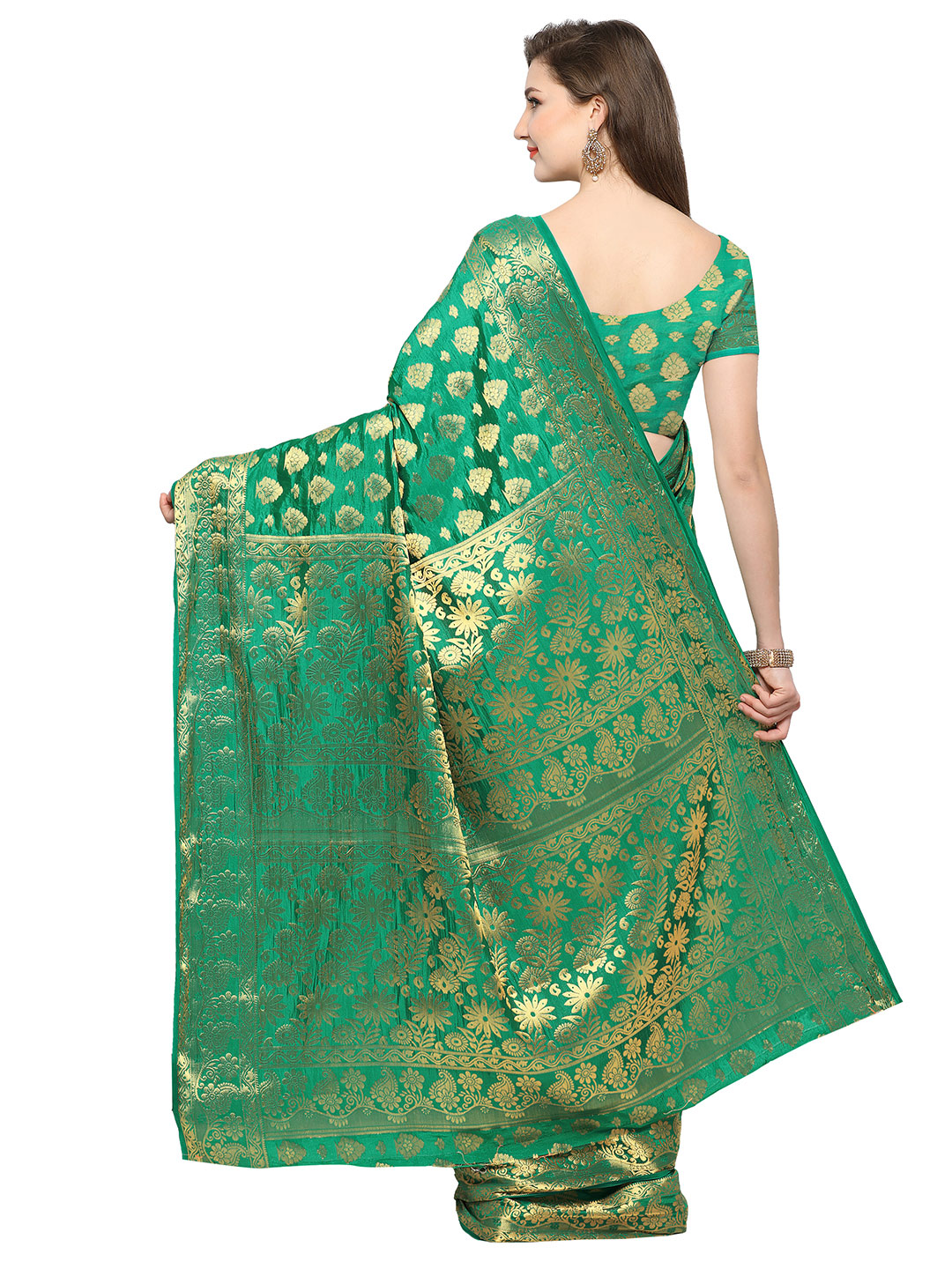 Elegant Green Colored Festive Wear Woven Banarasi Art Silk Saree