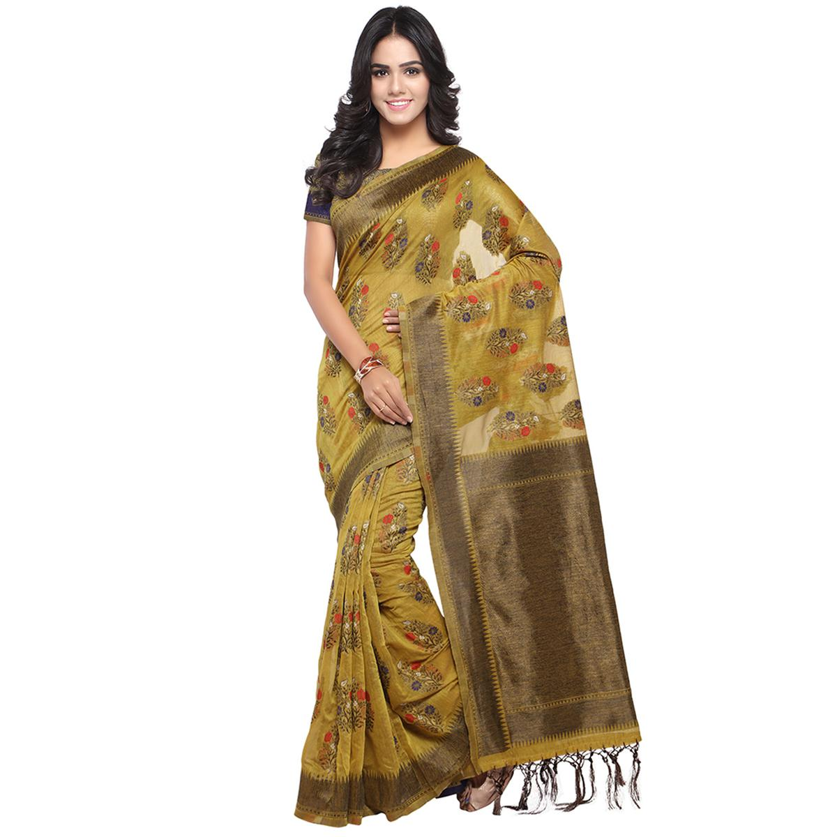 Bloom Brown Colored Embroidered Festive Wear Cotton Banarasi Saree