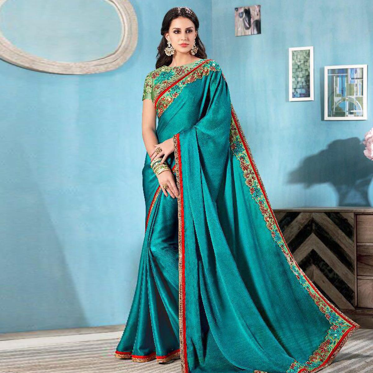 Dark Ferozi Partywear Solid Moss Chiffon Saree With Embroidered Blouse
