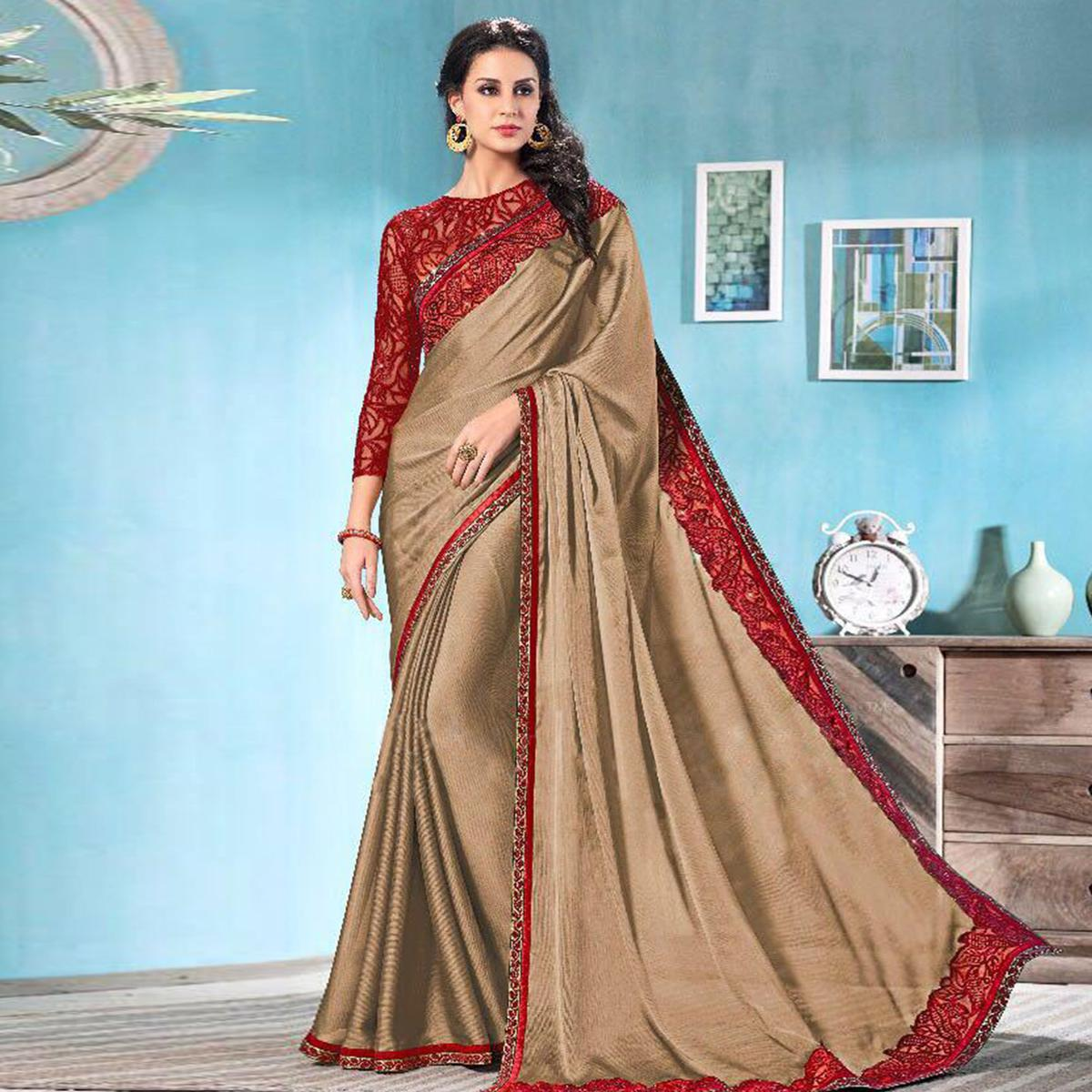 Rich Beige Partywear Solid Moss Chiffon Saree With Embroidered Blouse