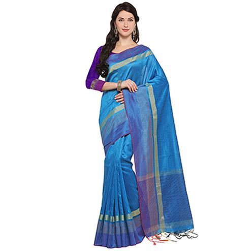 Glorious Blue Colored Festive Wear Cotton Banarasi Saree