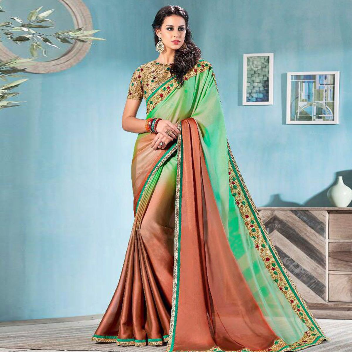 Green - Rust Partywear Solid Flora Silk Saree With Embroidered Blouse