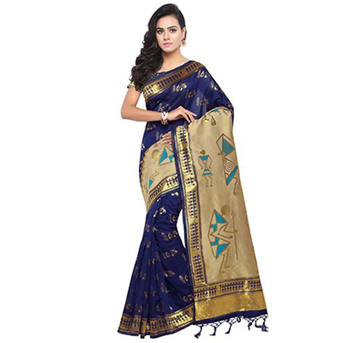 Unique Navy Blue Colored Warli Printed Woven Art Silk Saree