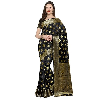 Mystic Black Colored Festive Wear Woven Banarasi Art Silk Saree