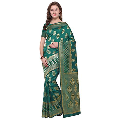 Irresistible Rama Colored Festive Wear Woven Banarasi Art Silk Saree