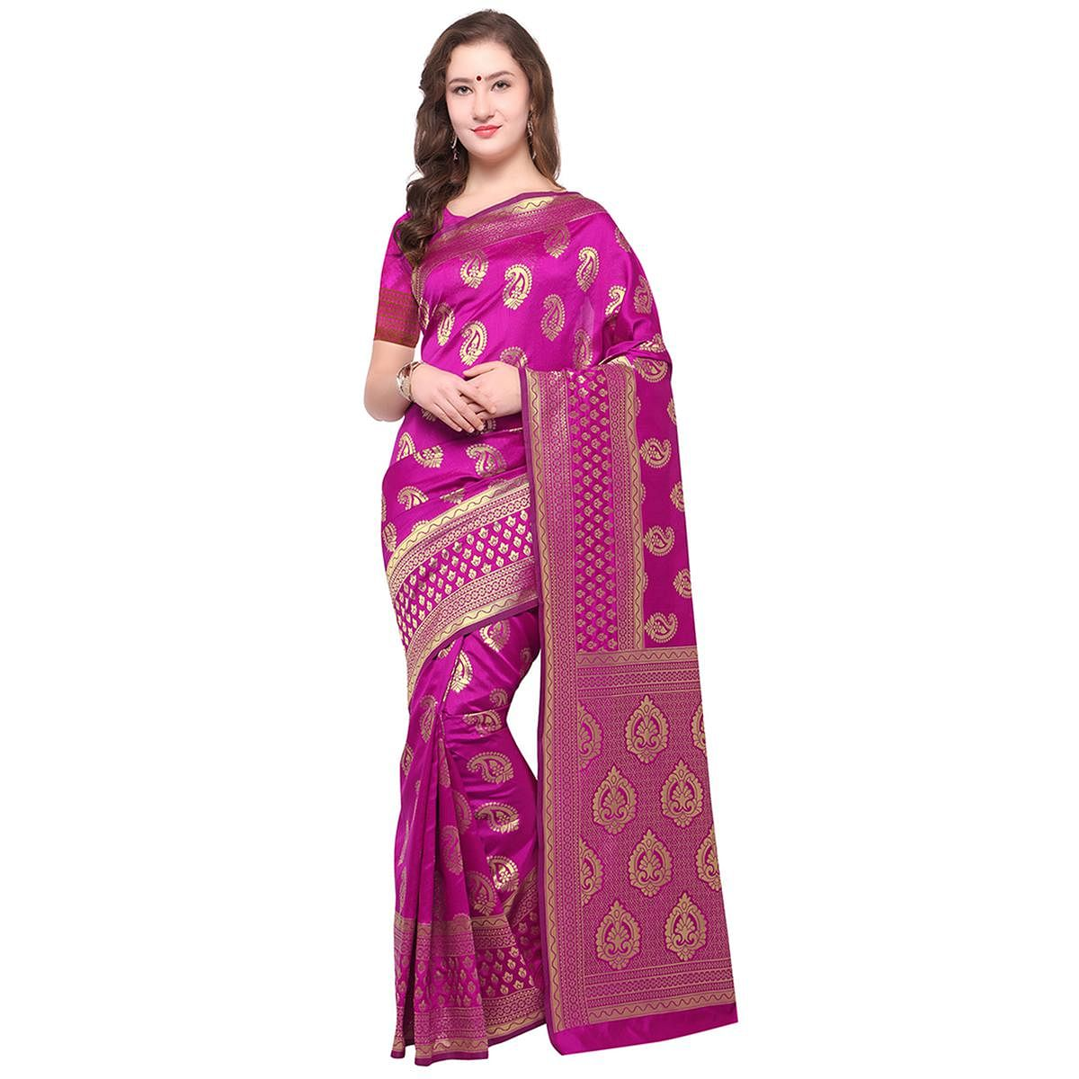 Glowing Pink Colored Festive Wear Woven Banarasi Art Silk Saree