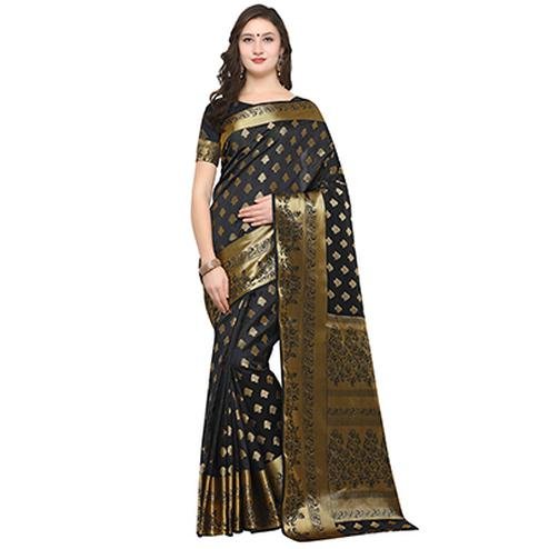 Glorious Black Colored Festive Wear Woven Banarasi Art Silk Saree