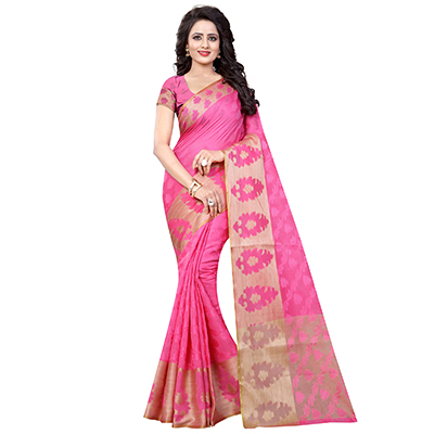 Cute Pink Colored Festive Wear Woven Banarasi Art Silk Saree