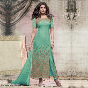 Green Embroidered Work Designer Suit