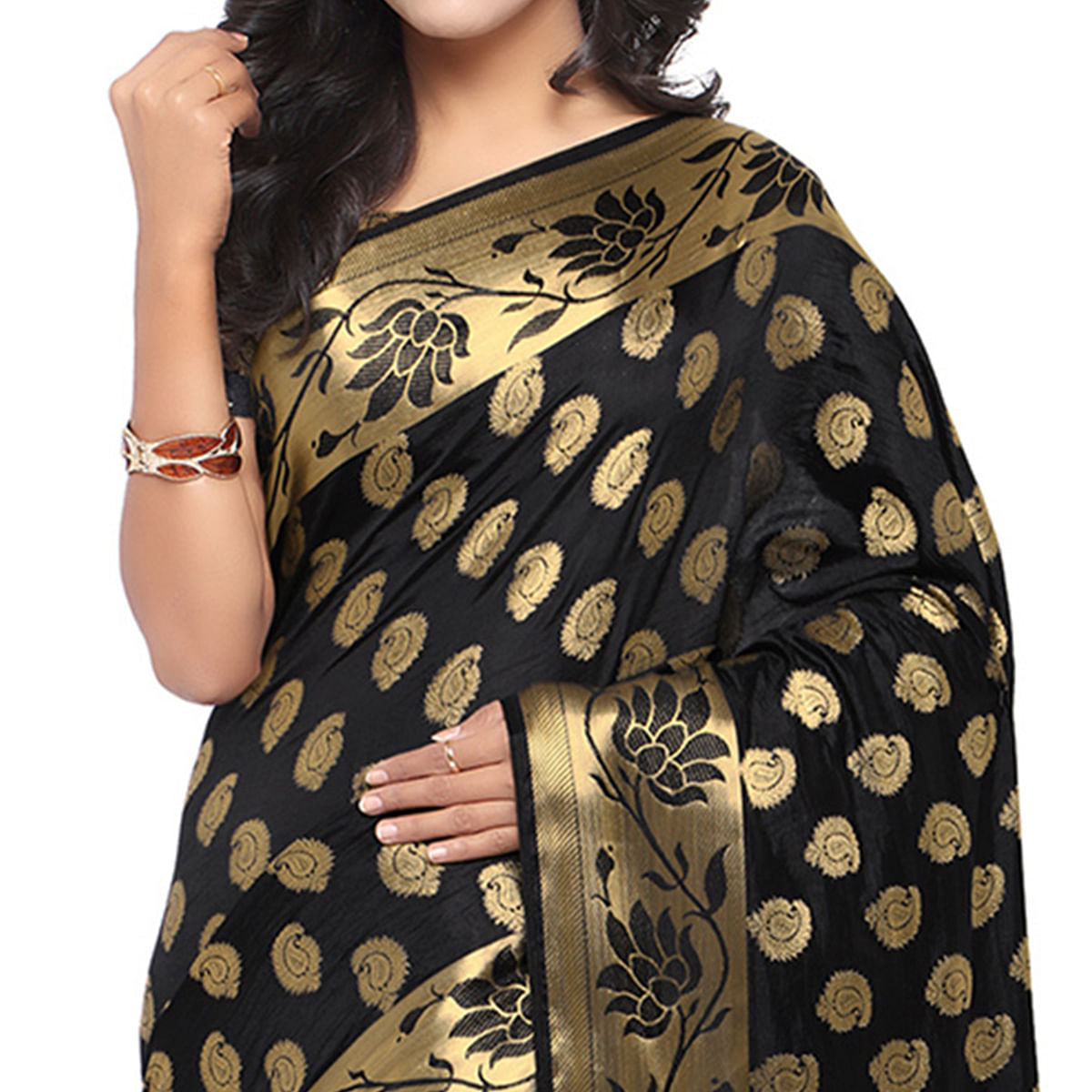 Gracefull Black Colored Festive Wear Woven Banarasi Art Silk Saree