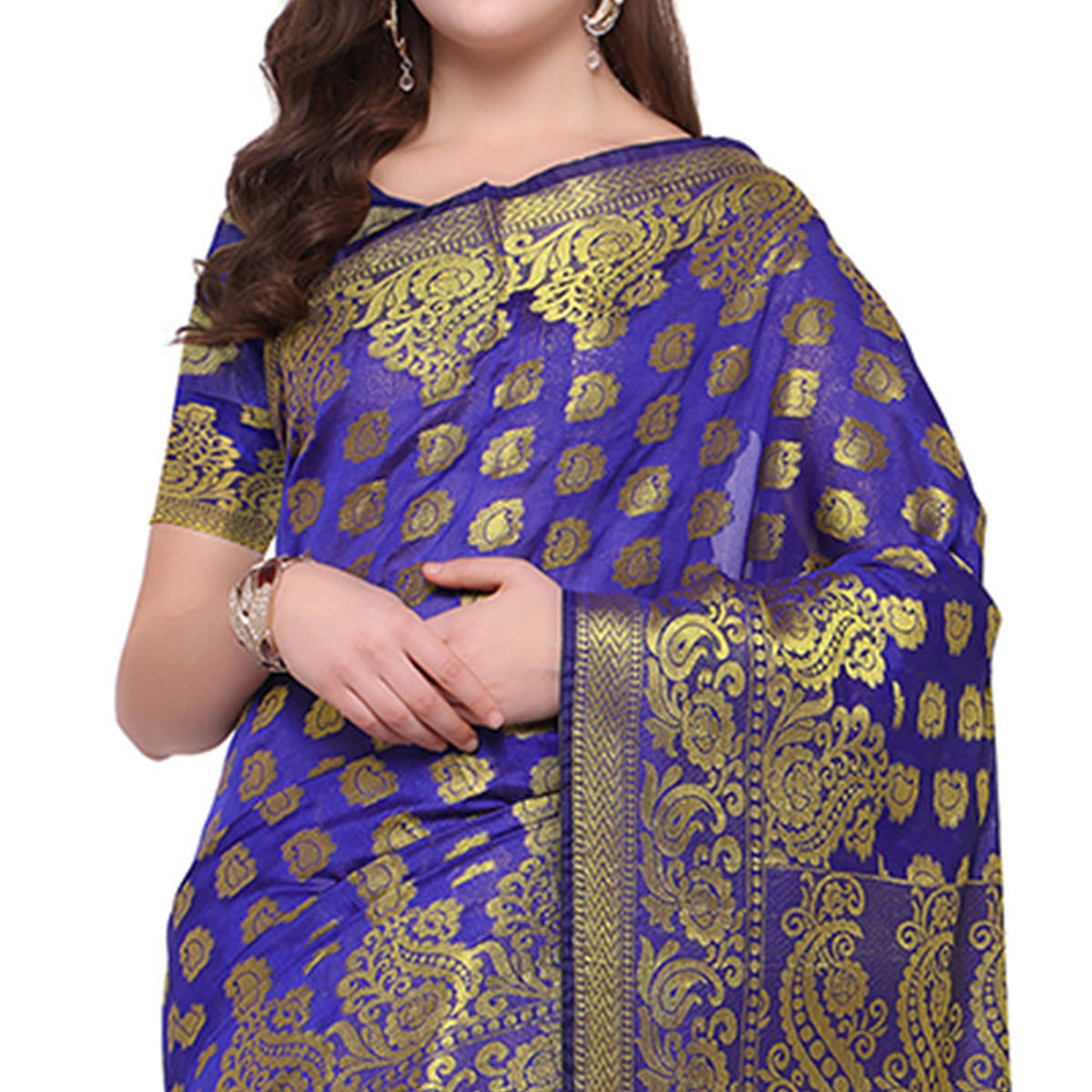 Appealing Blue Colored Festive Wear Woven Banarasi Art Silk Saree