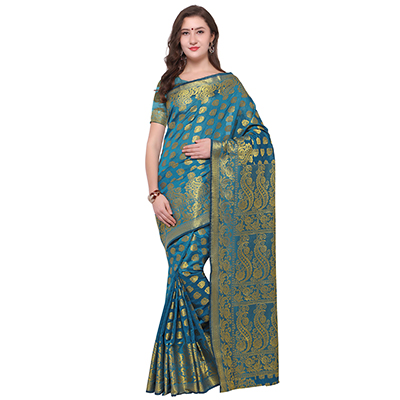 Precious Firozi Colored Festive Wear Woven Banarasi Art Silk Saree