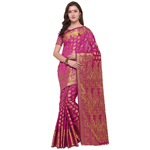 Observable Pink Colored Festive Wear Woven Banarasi Art Silk Saree