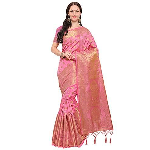Amusing Light Pink Colored Festive Wear Woven Banarasi Art Silk Saree