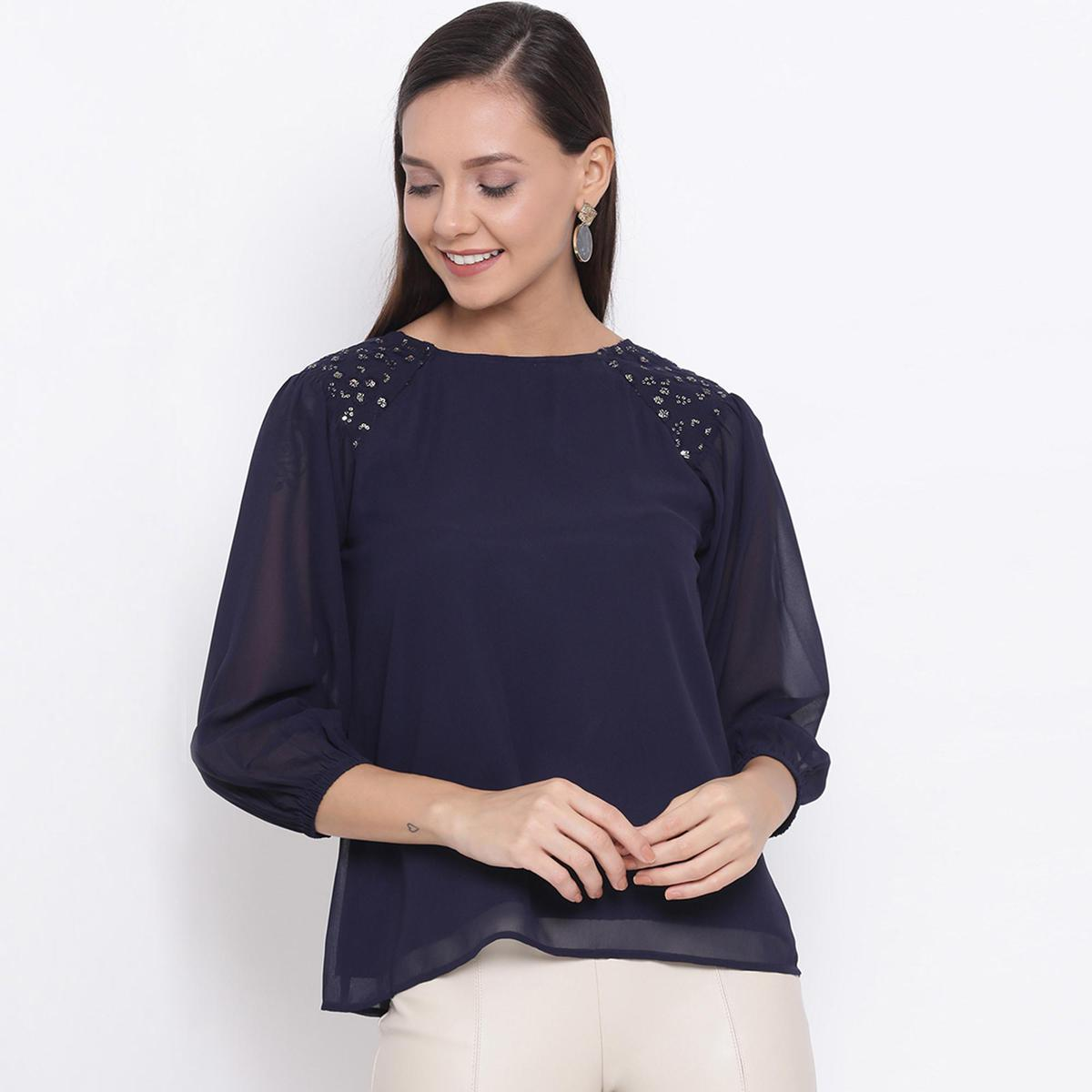 DRAAX FASHIONS - Women Navy Blue Embellished A-line Top