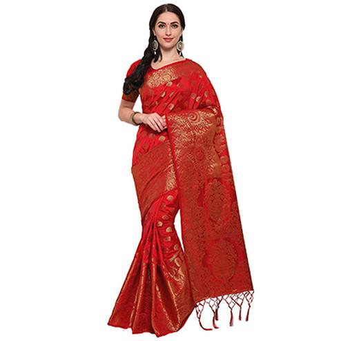 Lipstick Red Colored Festive Wear Woven Banarasi Art Silk Saree