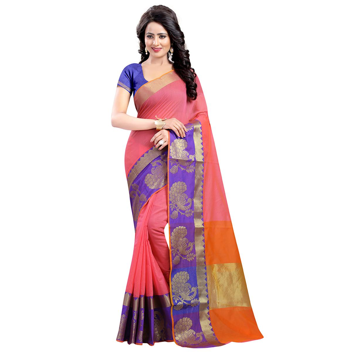 Integral Pink Colored Festive Wear Woven Banarasi Art Silk Saree