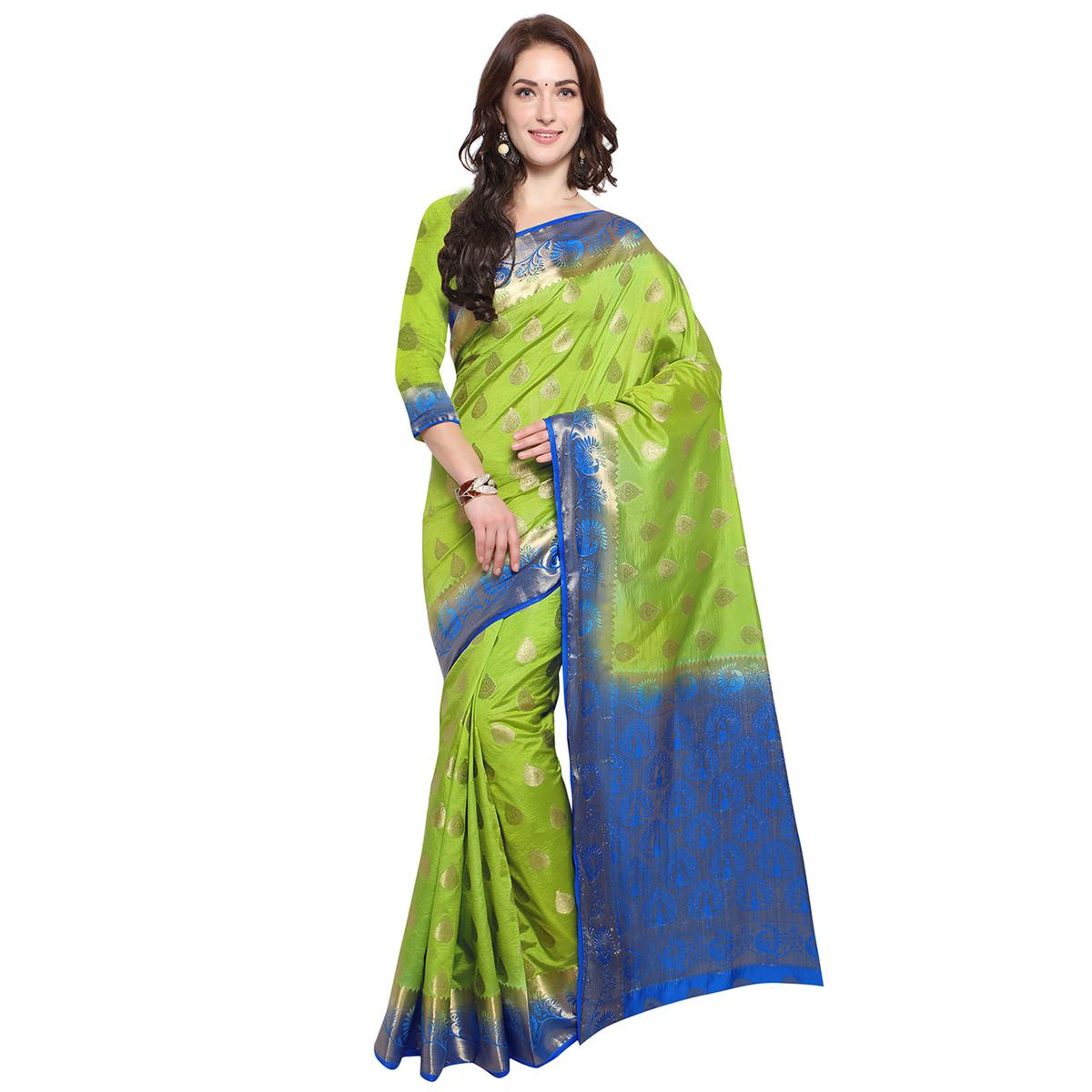 Exceeding Green Colored Festive Wear Woven Banarasi Art Silk Saree