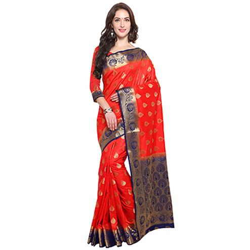Tomato Red Colored Festive Wear Woven Banarasi Art Silk Saree