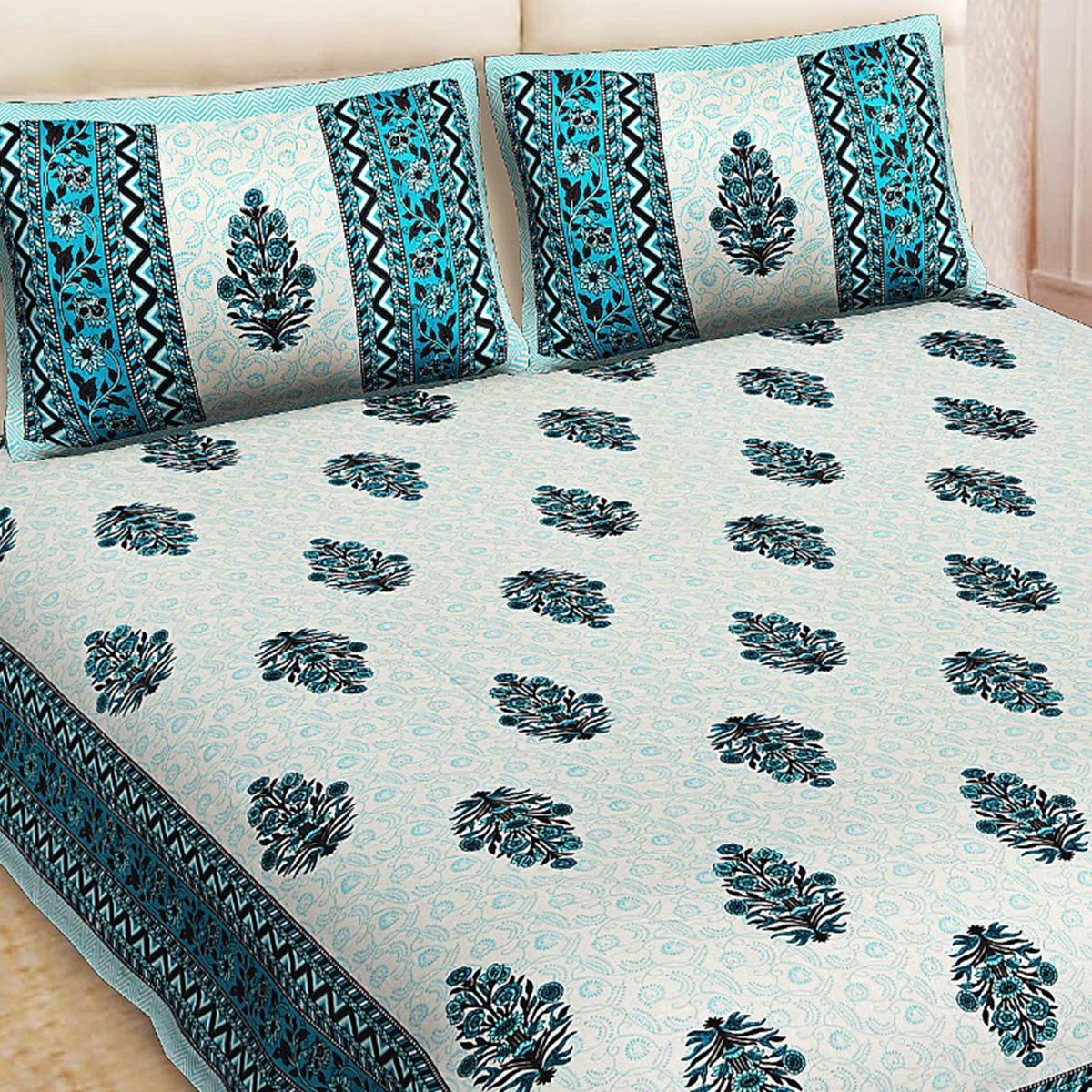 JK Enterprises - Rajasthani Jaipuri Cotton Print King Size Double Bed Sheets With Two Pillow Covers
