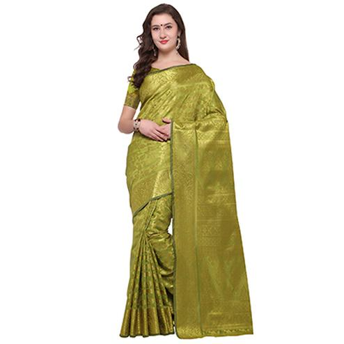 Precious Mehndi Green Colored Festive Wear Woven Banarasi Art Silk Saree